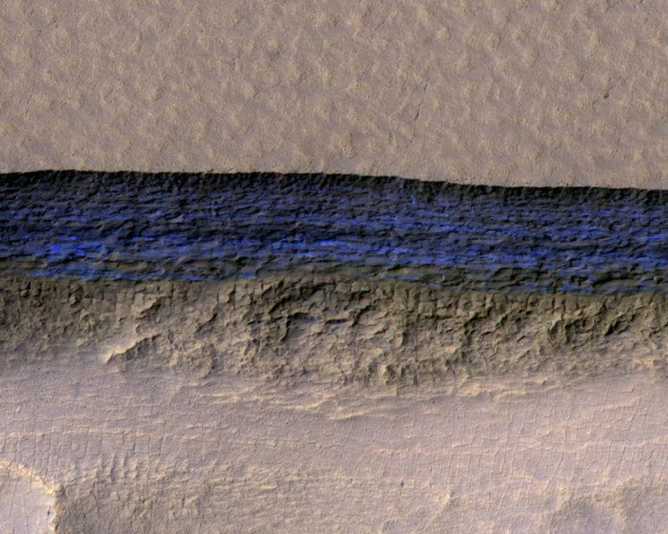 Steep ice cliffs on Mars