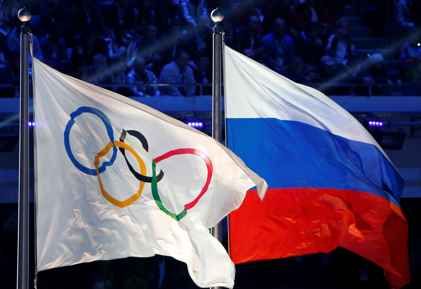 Russian and Olympic flags at Sochi 2014