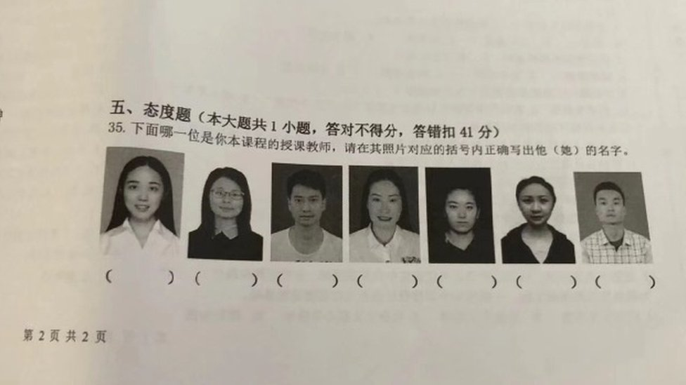 Chinese students were asked in an exam to pick out their teacher from a set of seven photos and correctly write down their name underneath