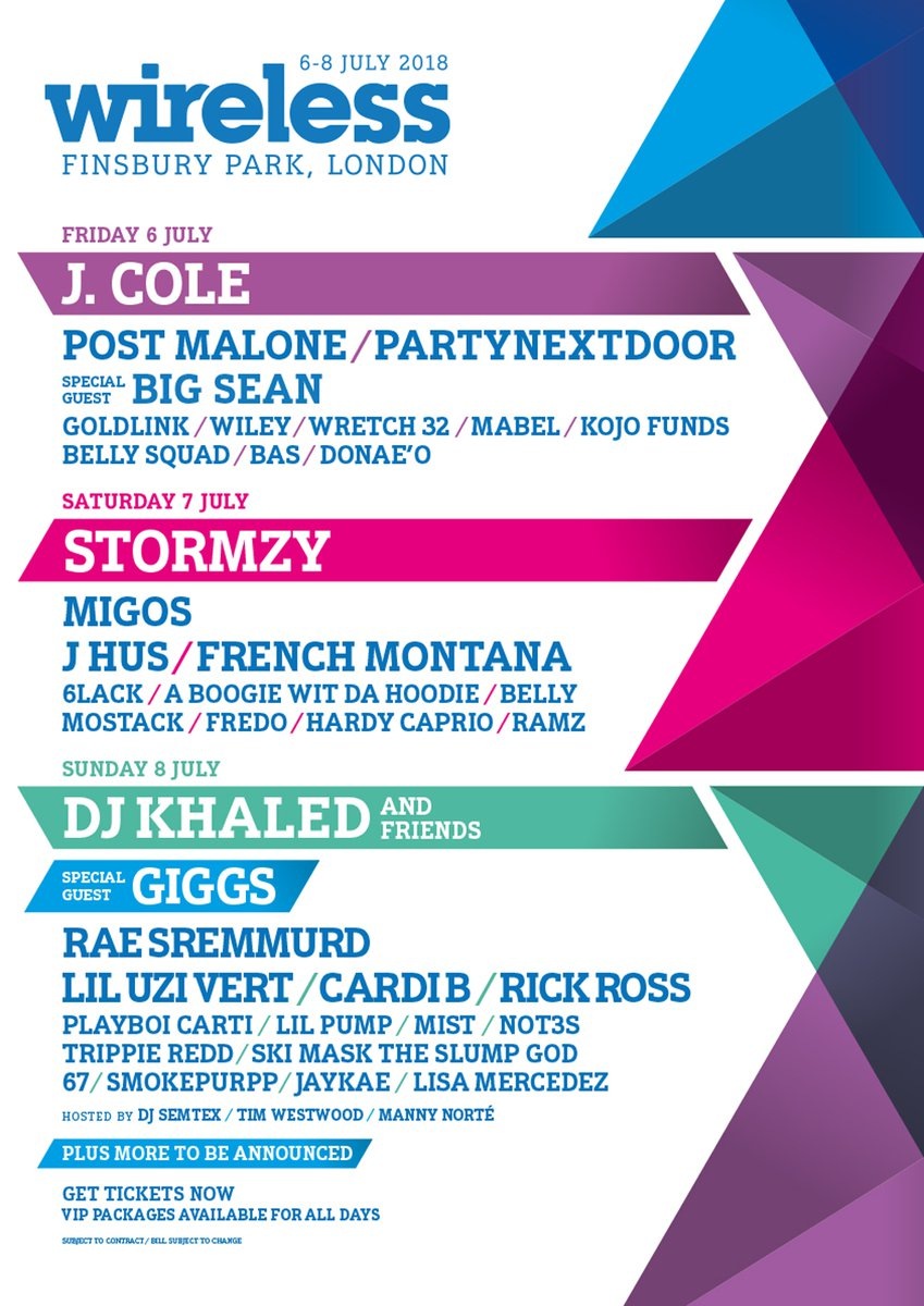 Wireless Festival line-up poster 2018