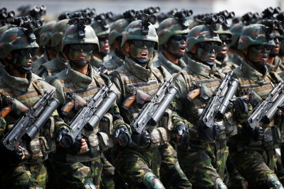 North Korea military movement and parade