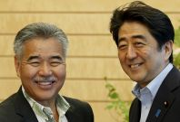 Hawaii Governor Ige with Japan's PM Shinzo Abe