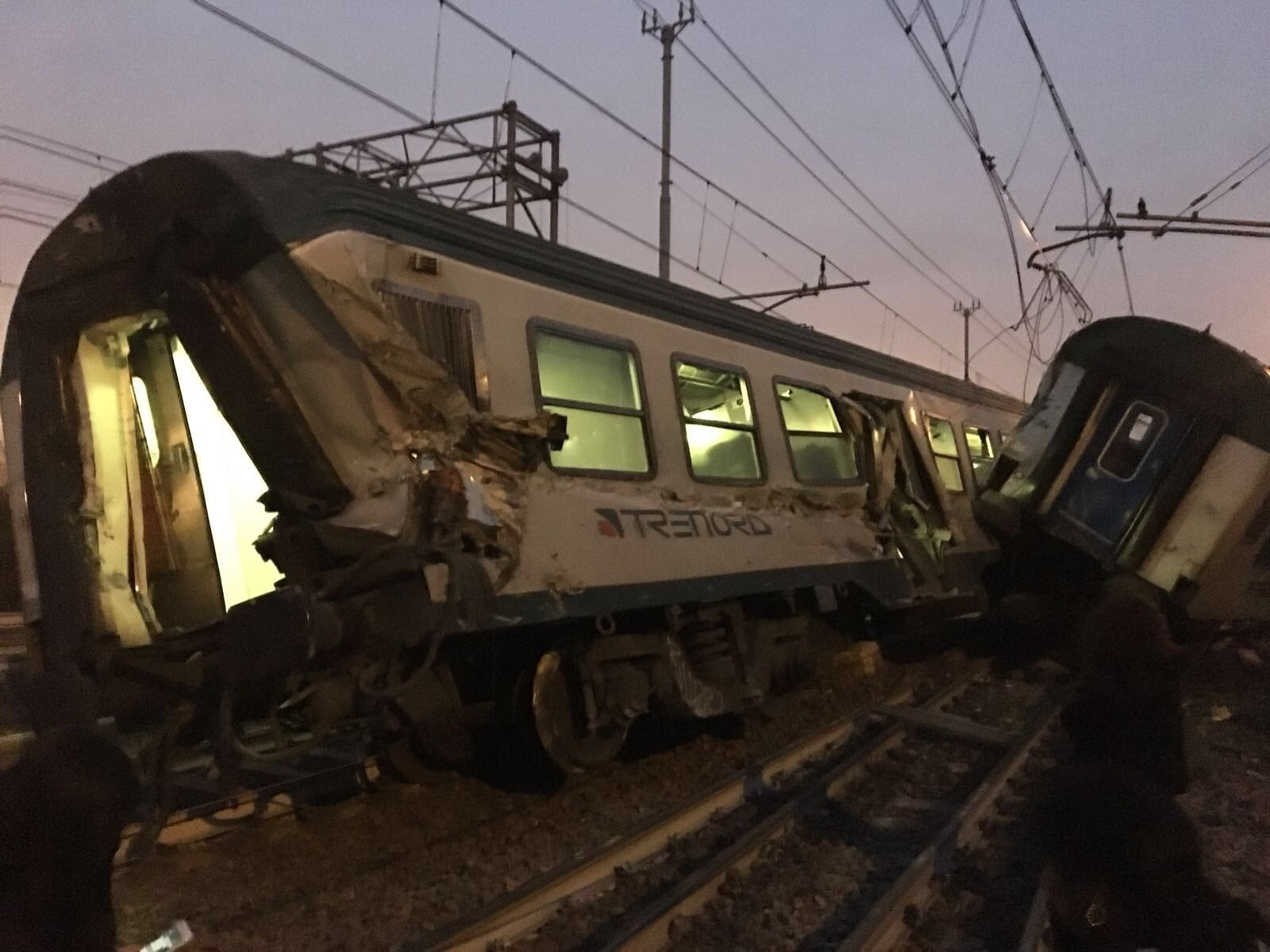 Train crash near Milan, Italy, leaves at least two dead after derailment