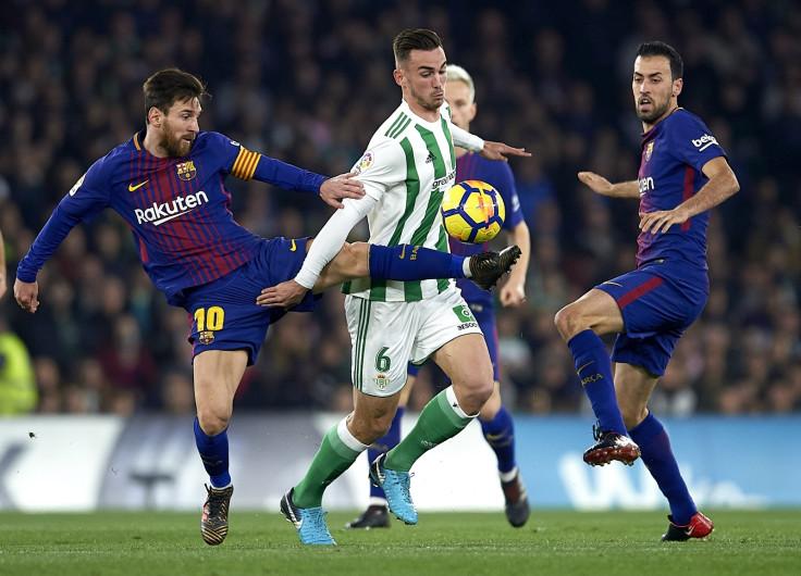 Lionel Messi, Fabian Ruiz and Sergio Busquets
