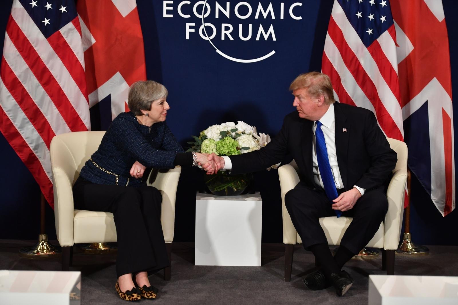 Theresa May and Donald Trump Davos 2018