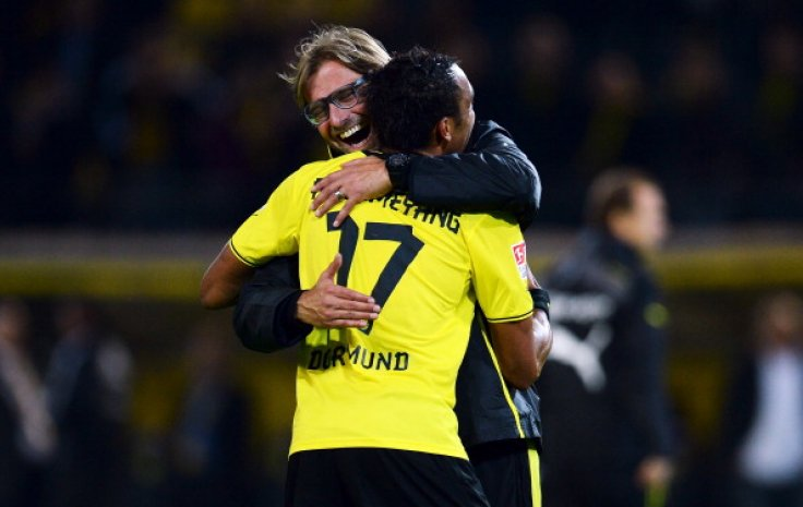 Pierre-Emerick Aubameyang and Jurgen Klopp
