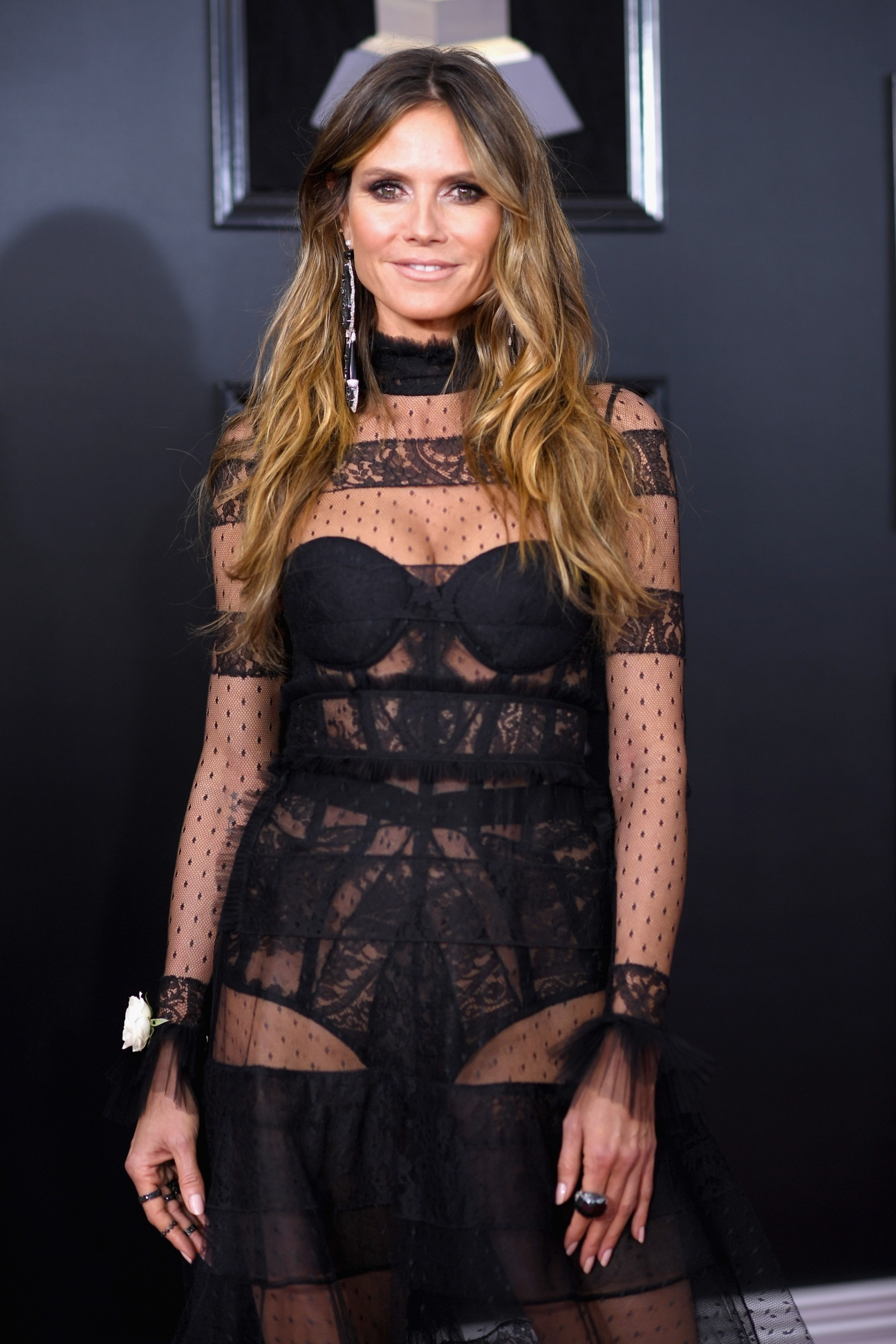 Heidi Klum Stuns In See Through Dress At The Grammys