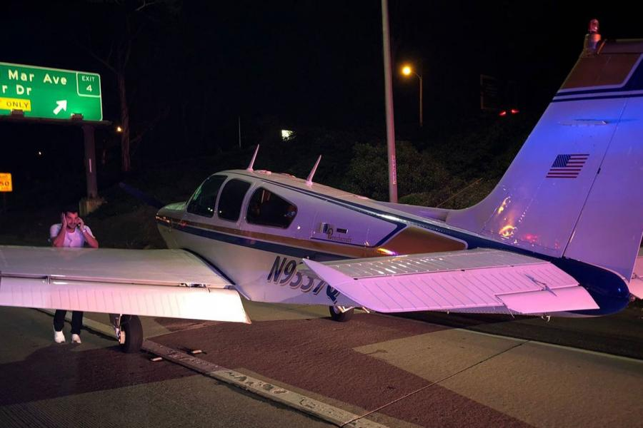 Plane lands on 55 Freeway