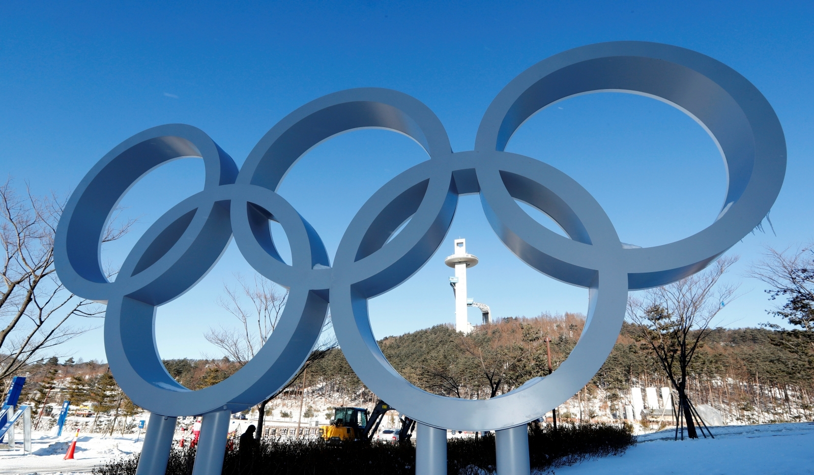 The Olympic rings at the Alpensia resort for the upcoming 2018 Pyeongchang Winter Olympic Games in Pyeongchang, South Korea