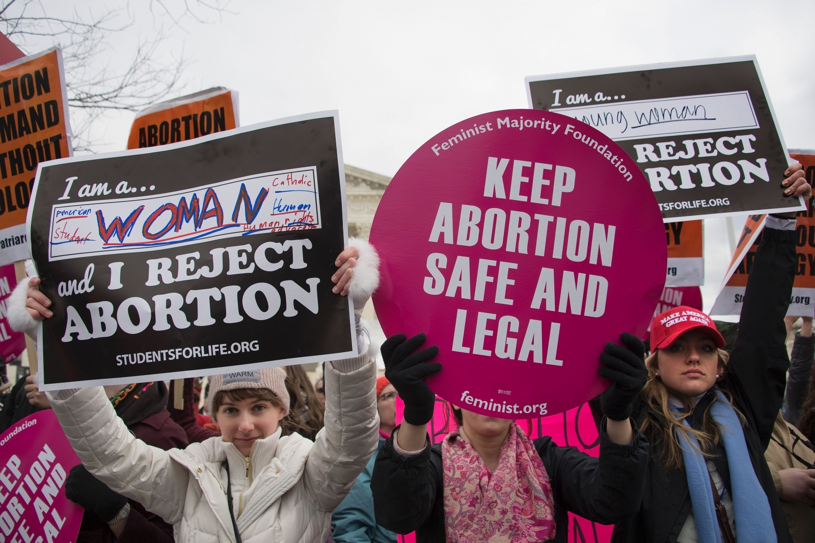 Pro-choice and pro-life abortion activists