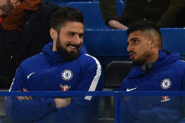 Olivier Giroud and Emerson Palmieri