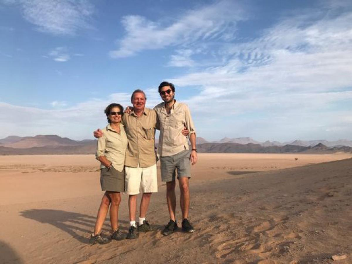 (From left) Sissi Bohlen, Edgar Bohlen and Vincent Bohlen on holiday in Namibia