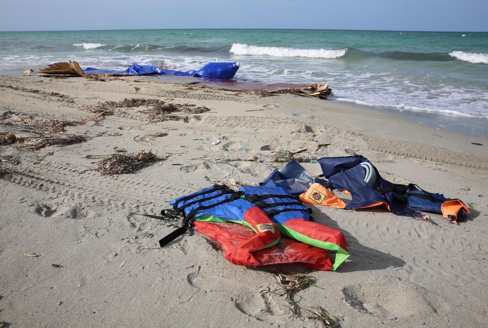 Life jackets washed up Mediterranean coast