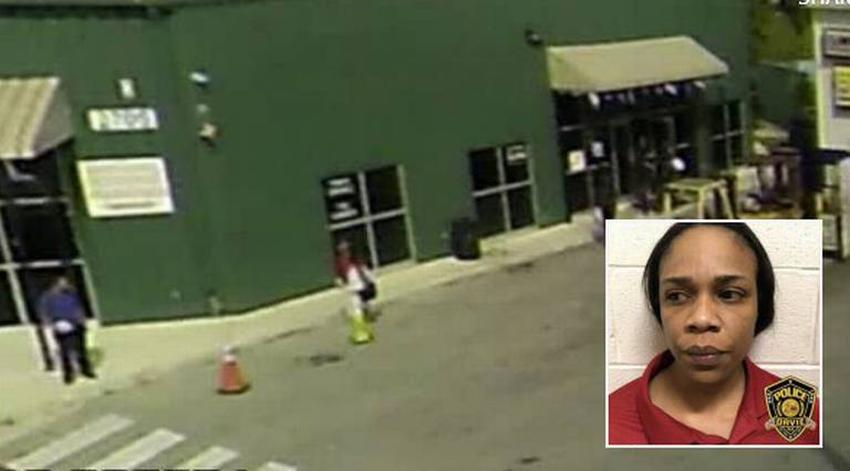 (Inset) Truck stop worker Jondre Thomas (Main picture) Security camera footage of Thomas calmly walking up to her boss Claudio Salcedo just before she throws boiling water at him