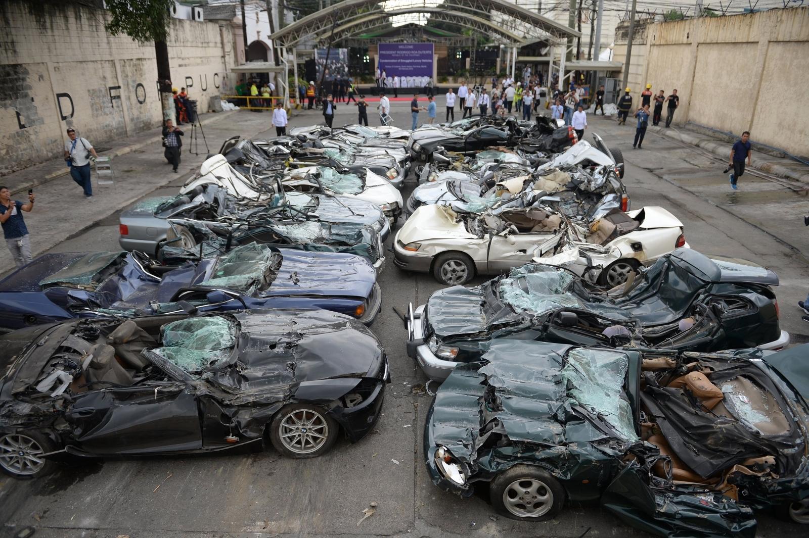 President Duterte car crushing