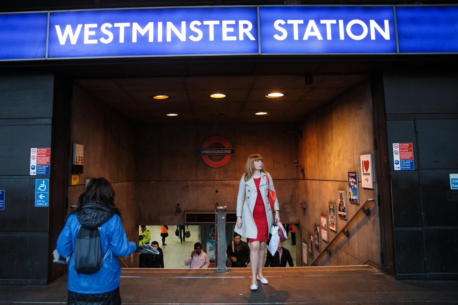 Passengers at Westminster station where Transport for London manager Caroline Murphy abused Tube staff and kicked out at a police officer when she became too drunk to get home