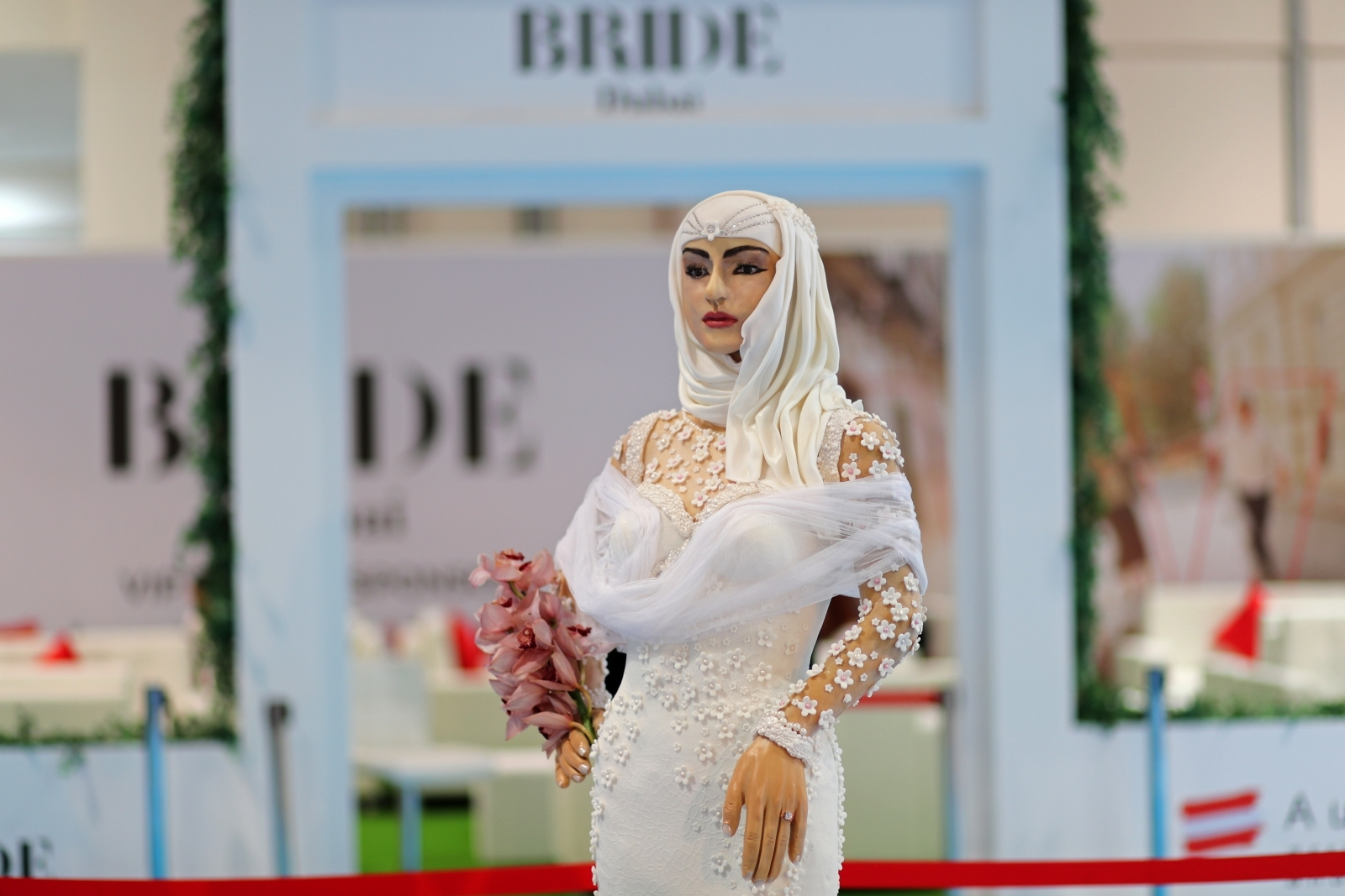 Million-Dollar Bride: Life-size chocolate and diamond wedding cake displayed at Bride Dubai