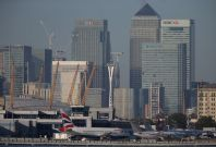 Canary Wharf seen from London City Airport