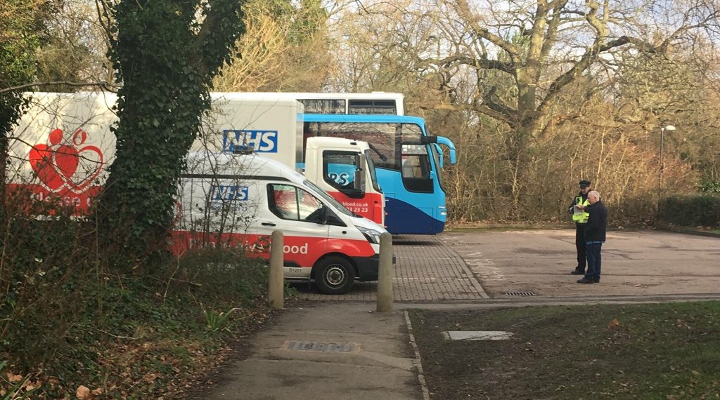 Two NHS blood donation vans were given parking tickets as donors queued up at Tenterden Leisure Centre in Ashford, Kent