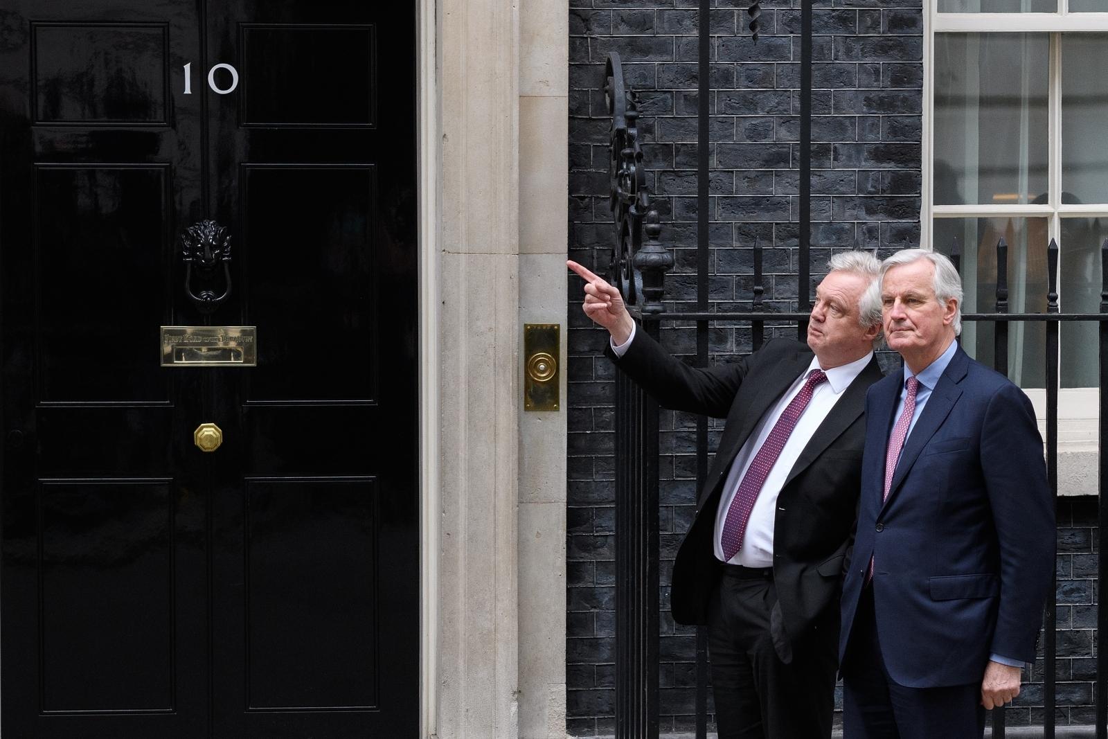 David Davis and Michel Barnier Downing Street