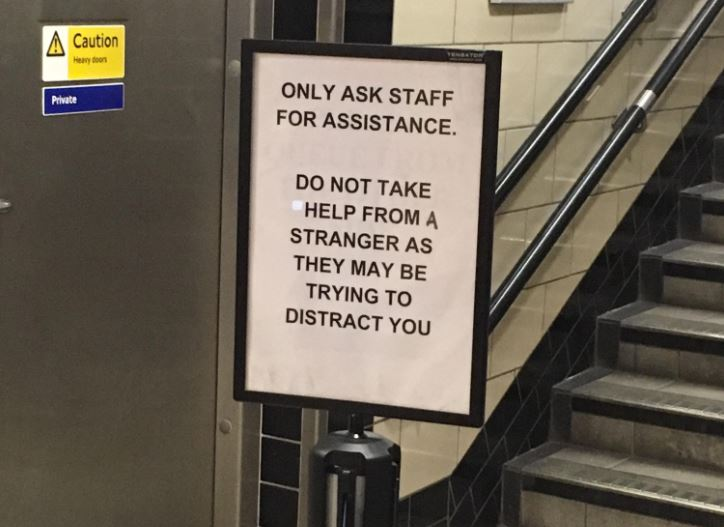 'Depressing' sign on the Tube