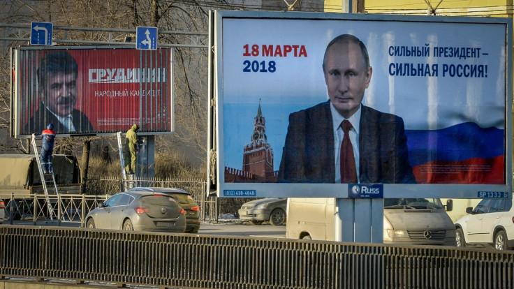 Pavel Grudinin and Vladimir Putin campaign
