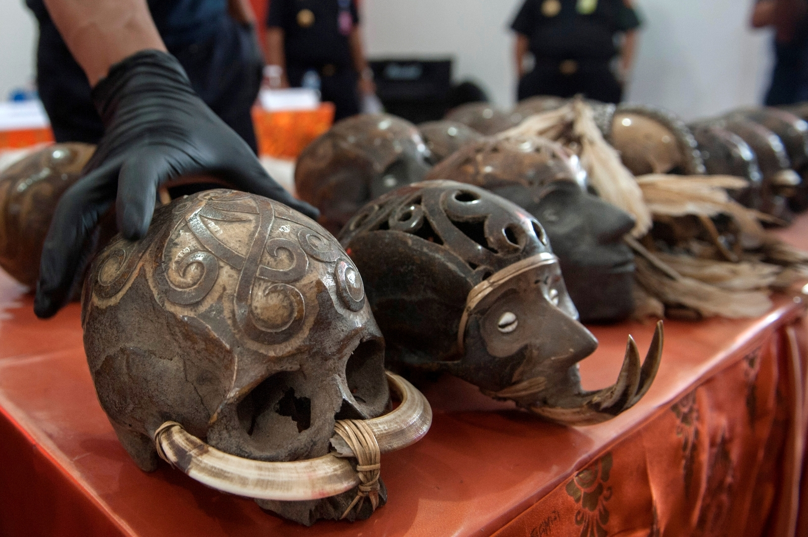 Customs officers in Bali find post 24 elaborately decorated human skulls that were being sent through the mail
