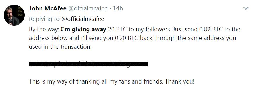 John McAfee fake tweet