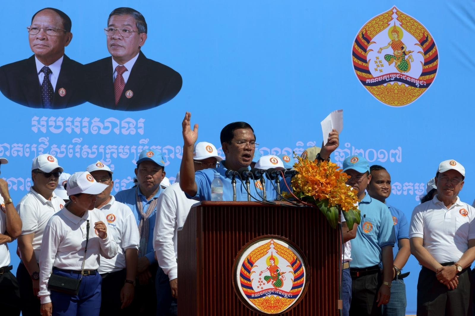 Cambodian Prime Minister Hun Sen campaigns