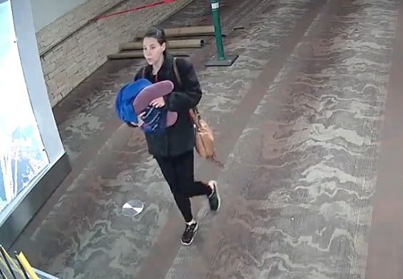 CCTV footage of the woman who authorities believe gave birth to her baby at Tuscon International Airport before abandoning it there