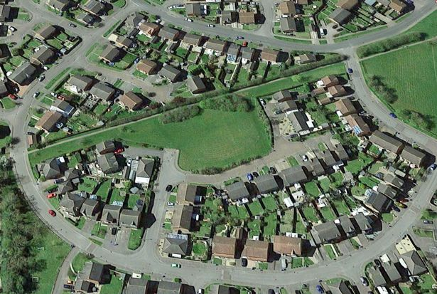 An aerial view of Pinel Close, Broughton Astley, where the land in the middle of the photograph is subject to development