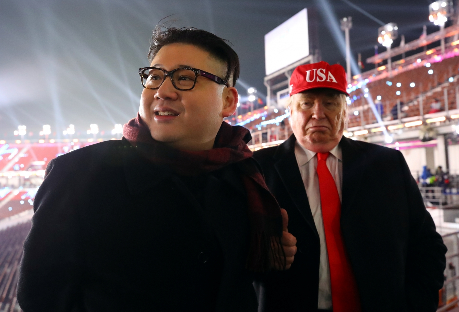 Kim Jong-un and Donald Trump impersonators