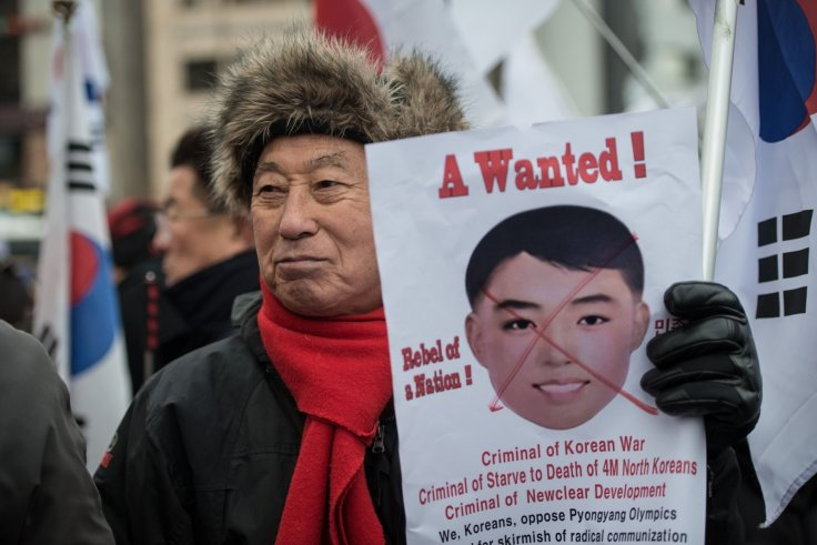 South Korean protests Kim Il-sung masks
