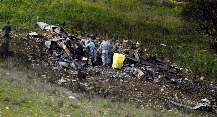 Crashed Israeli F-16 warplane in northern Israel