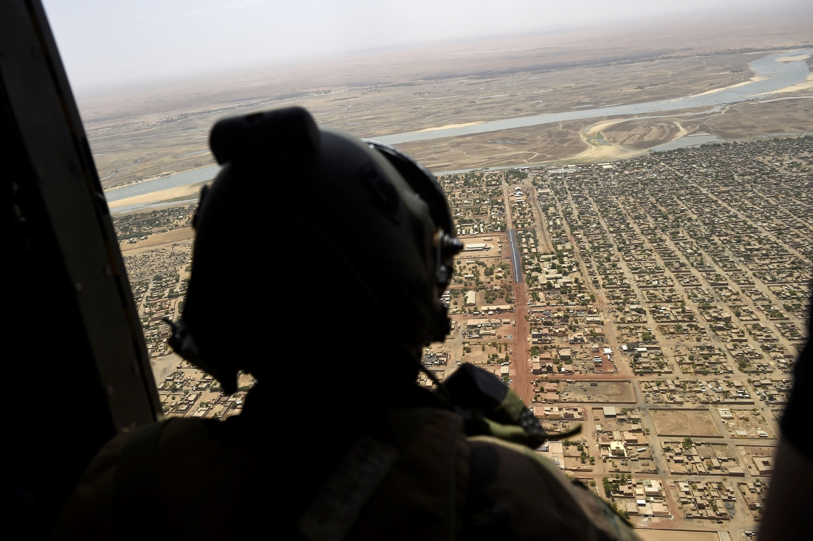 French helicopter crewman above Mali