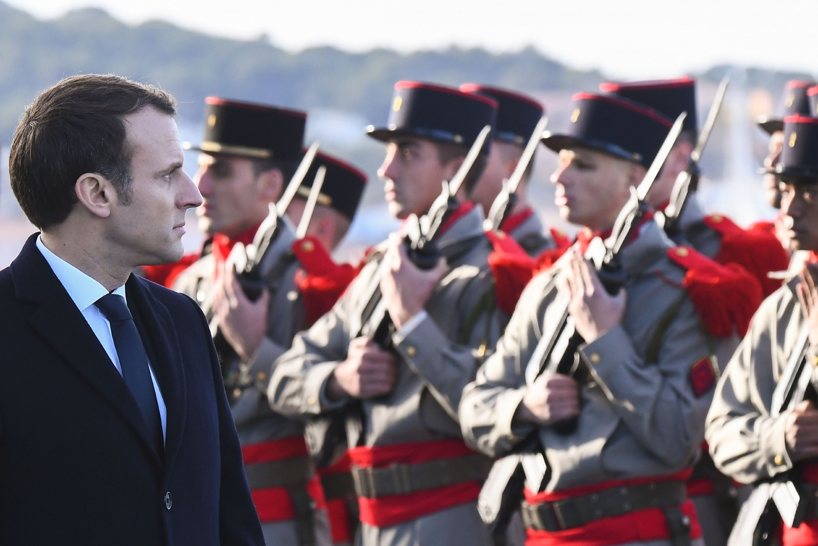 Emmanuel Macro inspects French Navy personnel