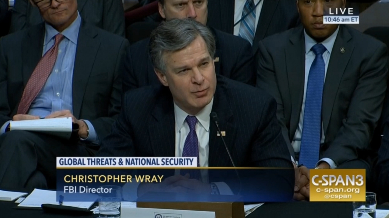 FBI Director Christopher Wray testifying before Senate Intelligence Committee