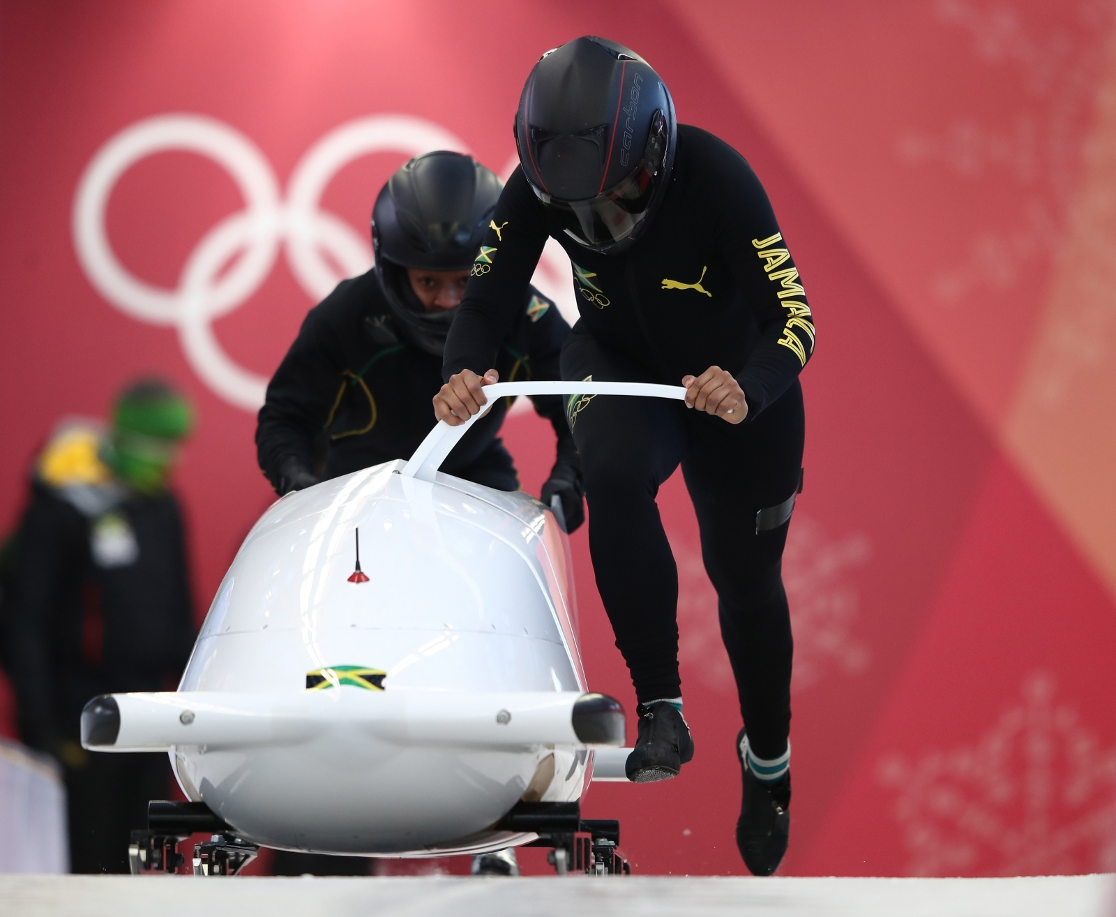 Jazmine Fenlator-Victoria of Jamaica trains during Bobsleigh practice ahead of the 2018 Winter Olympic Games at Olympic Sliding Centre in Pyeongchang-gun, South Korea