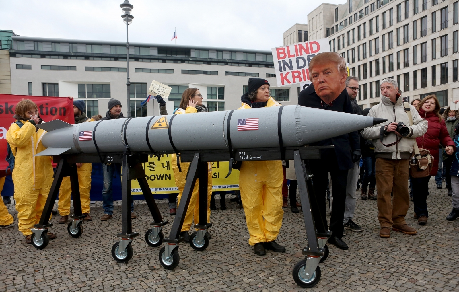 Germans protest Trump nuclear bombs North Korea