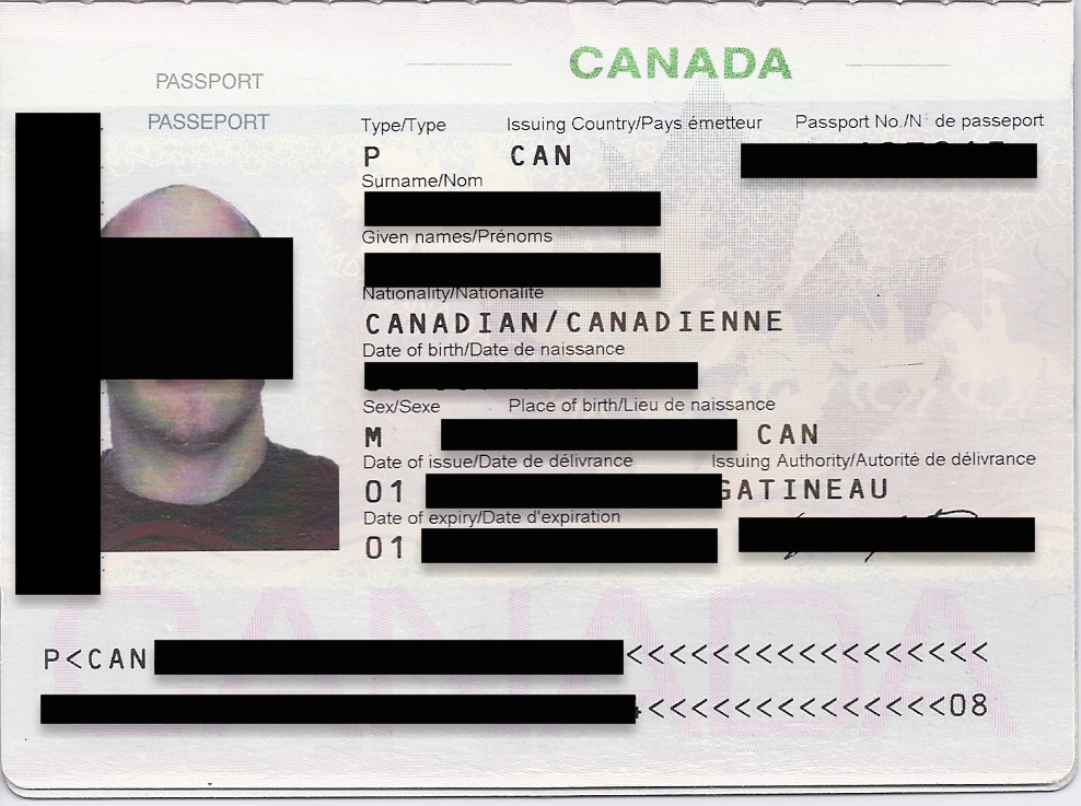 Leaked passport document