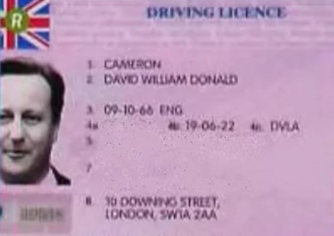 Fake ID David Cameron