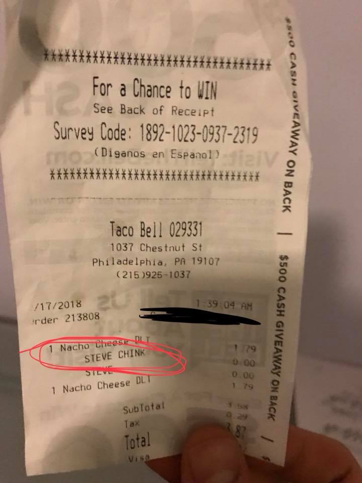 Taco Bell Diner Outraged After Finding Chink Slur On His