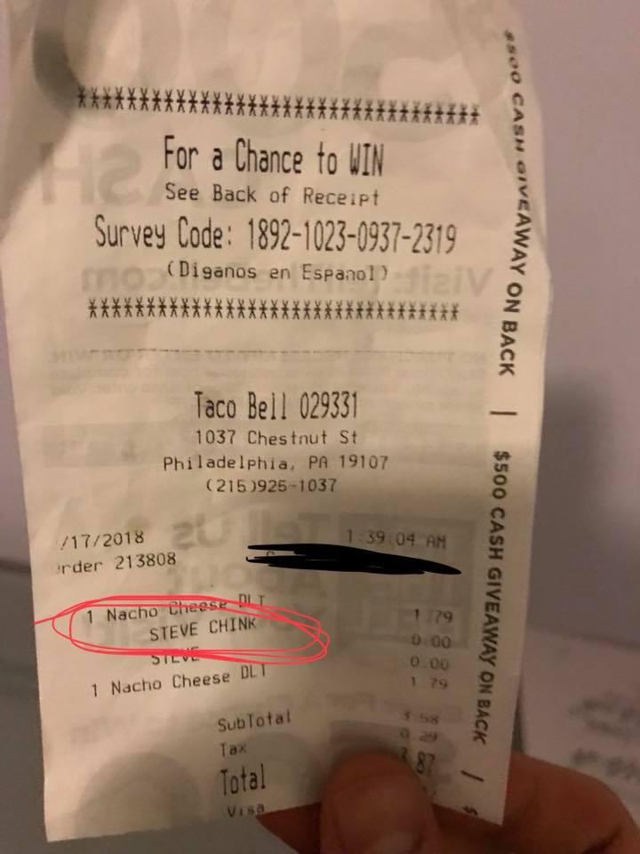 Racist Taco Bell receipt