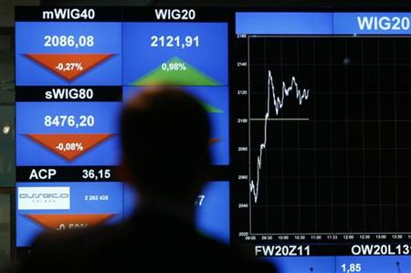 A man looks at the WIG20 index on a screen at the Warsaw Stock Exchange