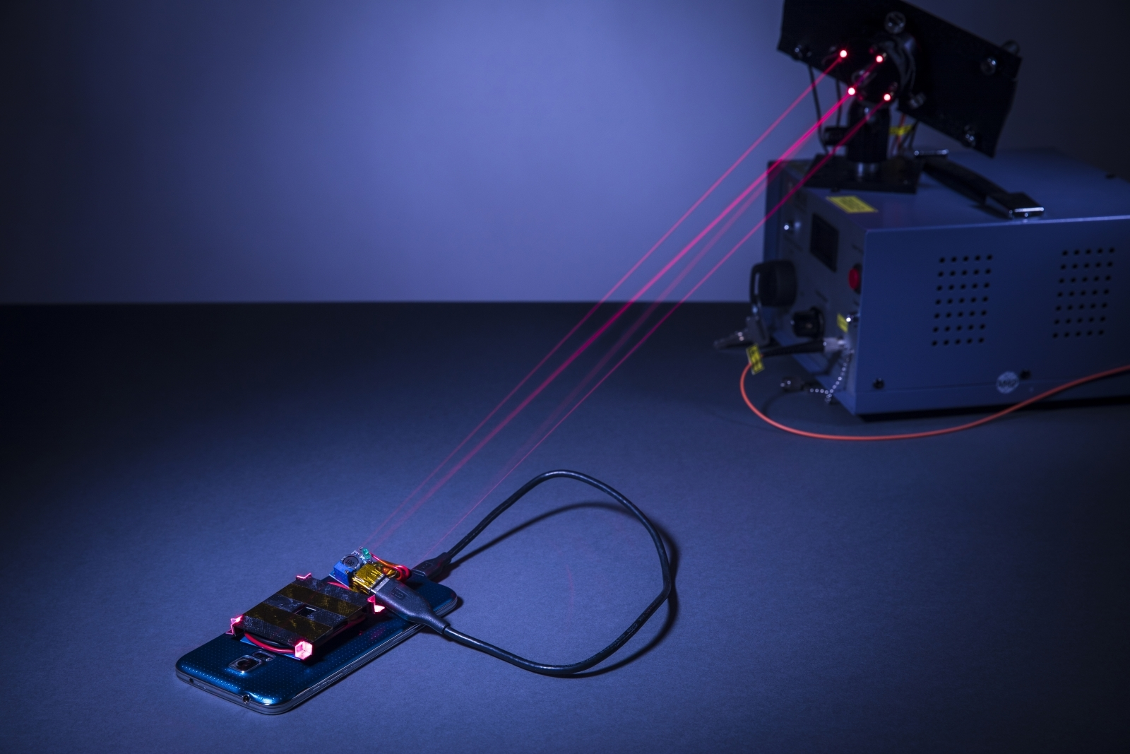 Smartphone charged through laser beam