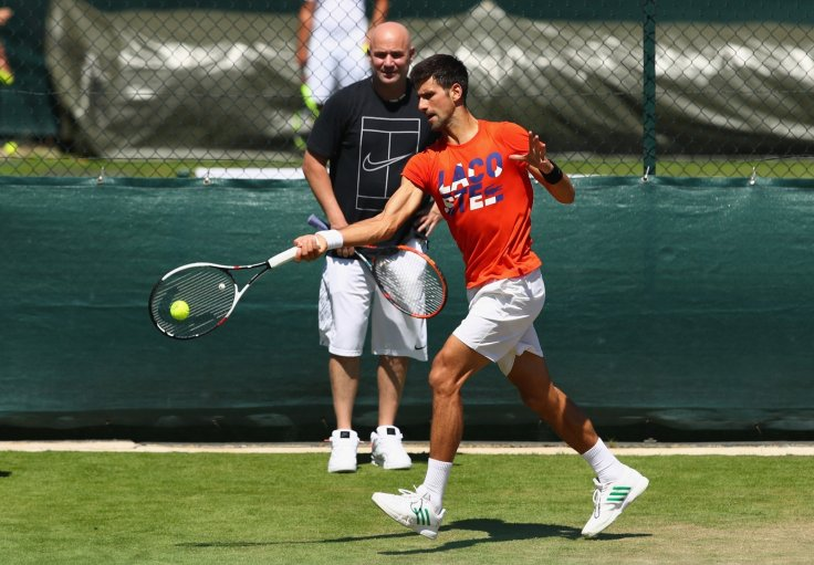 Novak Djokovic and Andre Agassi