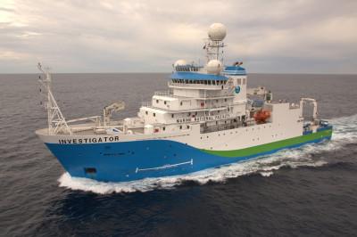 Investigator sailing across the Australian abyss