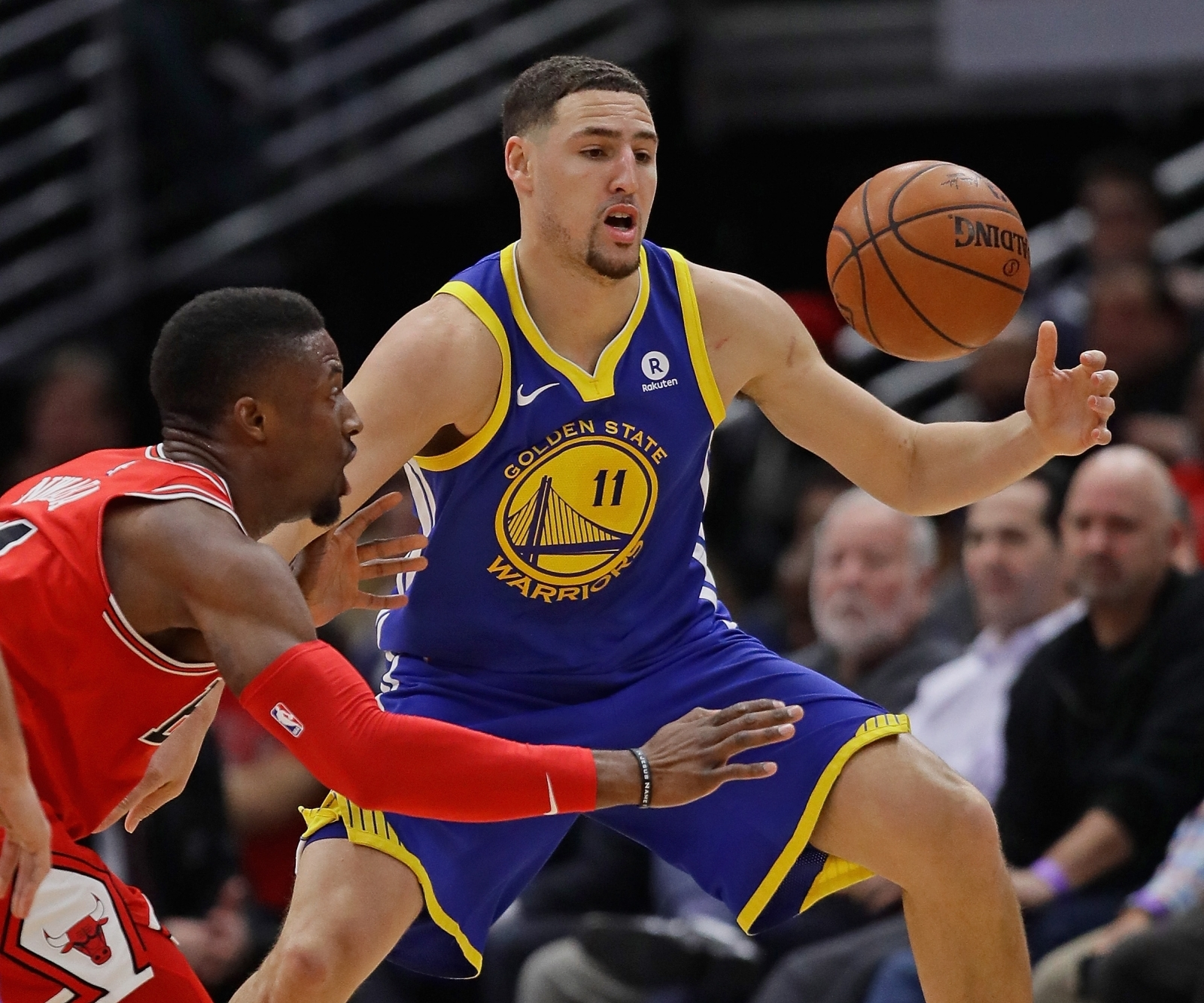 Golden State Warriors All-Star shooting guard Klay Thompson (in blue and yellow strip) revealed that the National Basketball Association champions plan to tour an African-American museum instead of making the traditional visit to the White House