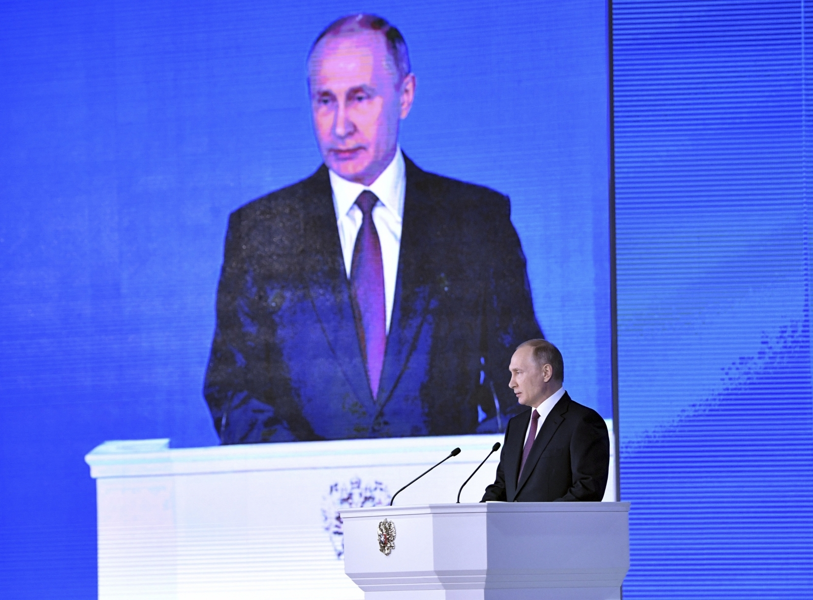Russian president Vladimir Putin delivers his annual State of the Nation address before both houses of parliament