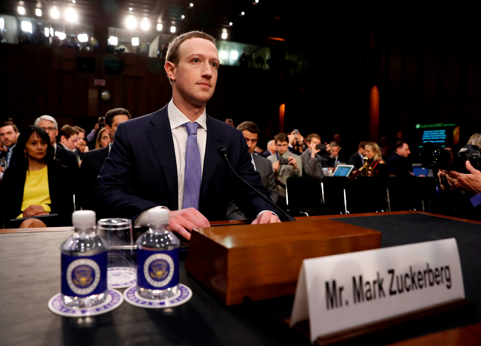 Mark Zuckerberg gives evidence to Senate